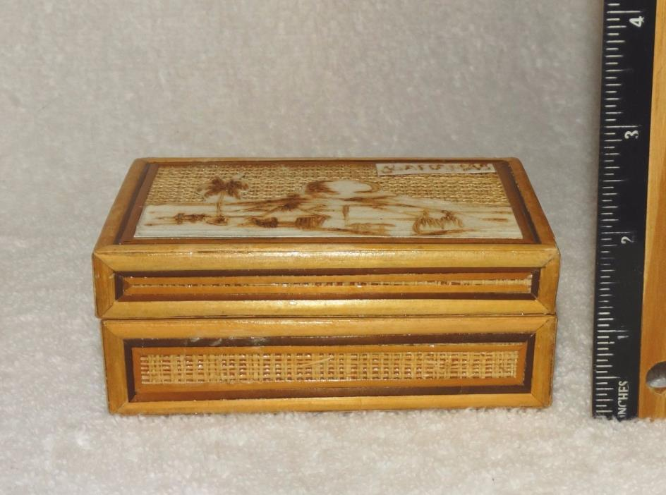 "Vintage Handmade Wooden Treasure Chest-BAHAMAS-Red Felt Lining-1 ¾"" tl & 4 ¼"