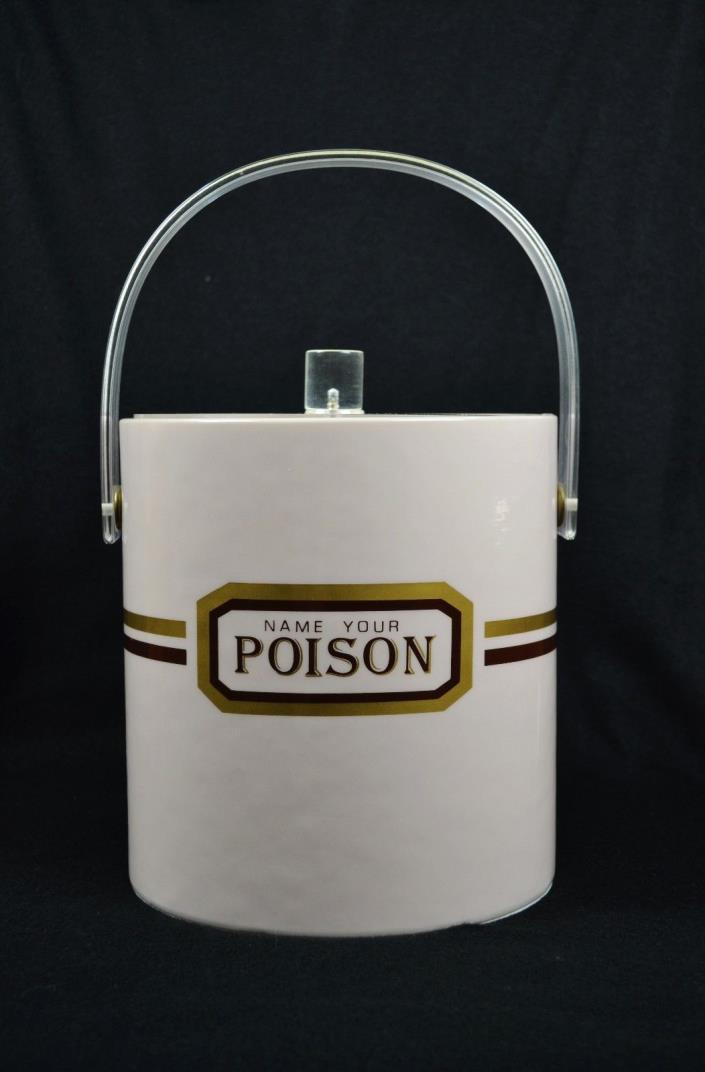 RARE! Vintage NAME YOUR POISON Ice Bucket Bar NICE! Barware