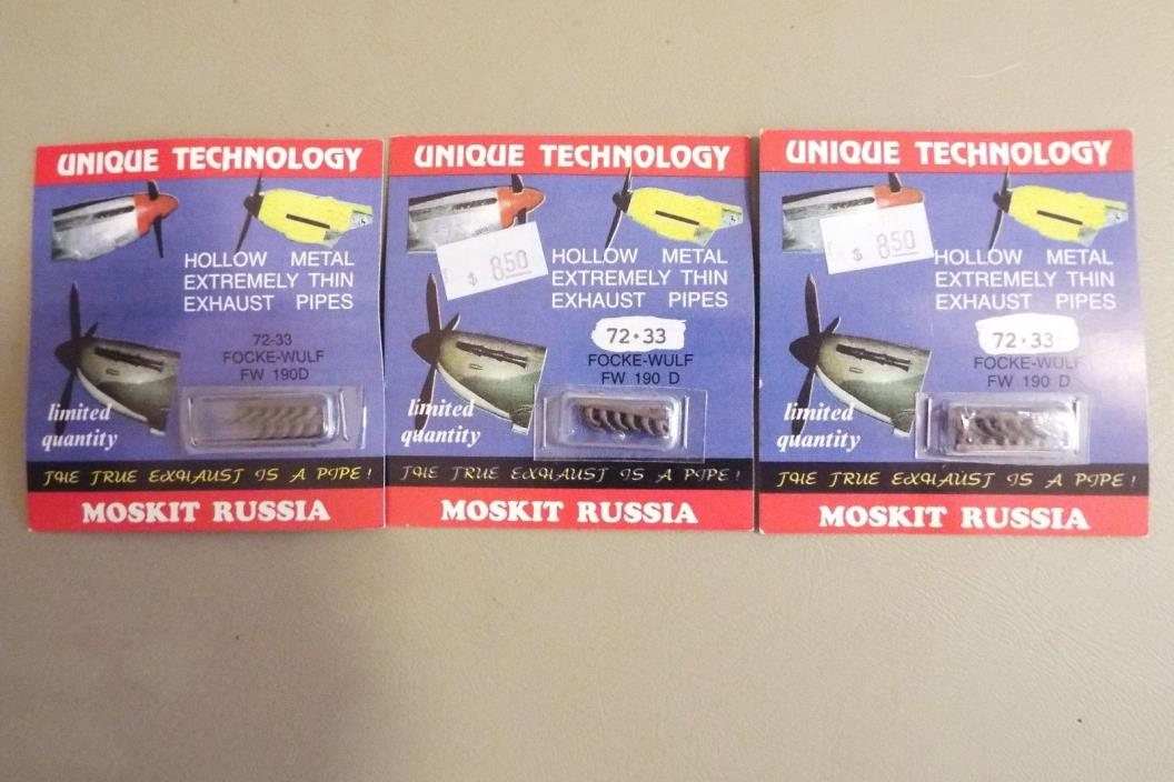 (3) MOSKIT RUSSIAN DETAIL PARTS -1/72 SCALE METAL EXHAUST PIPES #72-33 - Fw190D