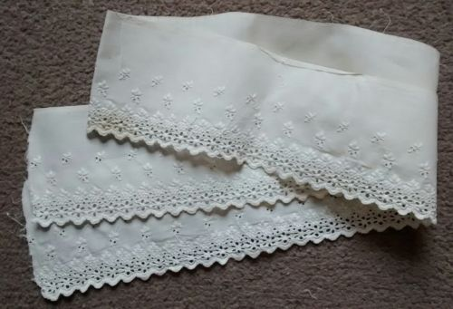 Antique Embroidered Eyelet Cotton Flounce Lace Trim Salvage 49