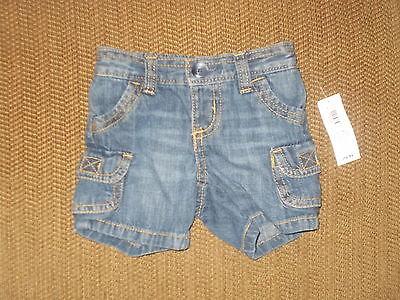 Boys Size 0-3 Months Old Navy 100% Cotton Cargo Denim Shorts NWT