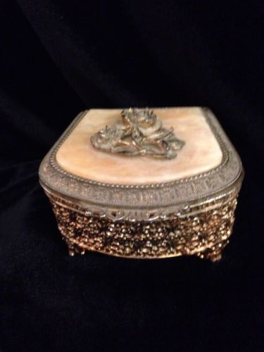 Ornate VTG Mele Co. Japan Metal Ladies Footed Dresser Tinket  Or Jewelry Box