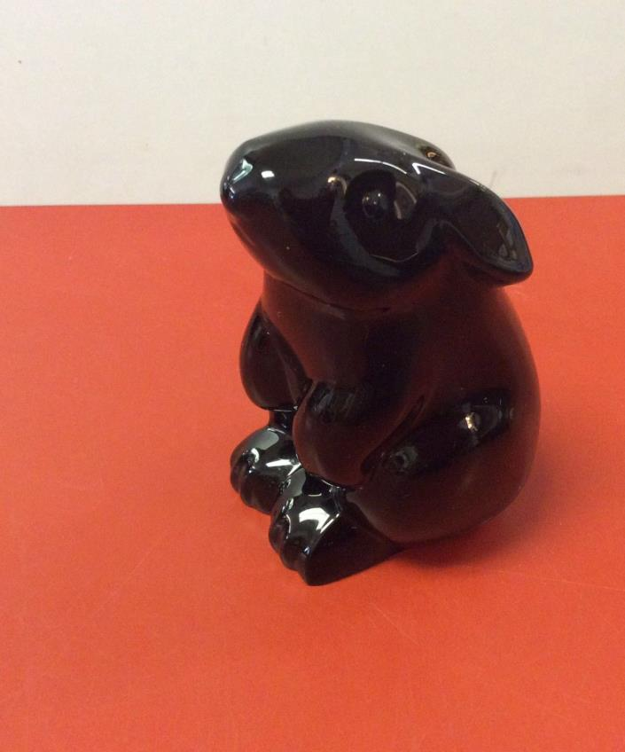 Baccarat France Crystal Figurine Paperweight BLACK SITTING RABBIT BUNNY