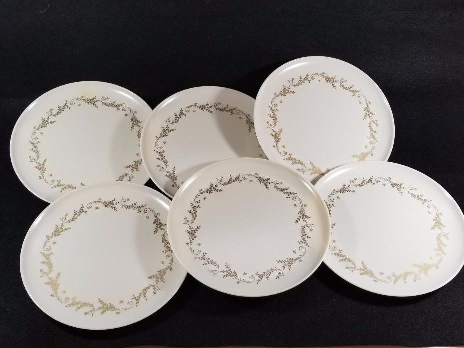 LENOX WARE Vintage Set Of 6 Dinner Plates Melamine Gold Cream Flourish 1950's