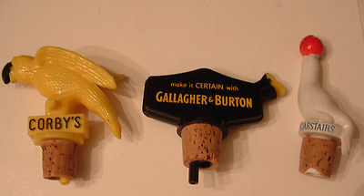 Vintage Lot of 3 Pourers Castairs Corby's Gallagher Liquor Bottle Stopper Topper