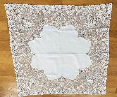 Antique Chemical Lace linen table cloth Beautiful Floral 31