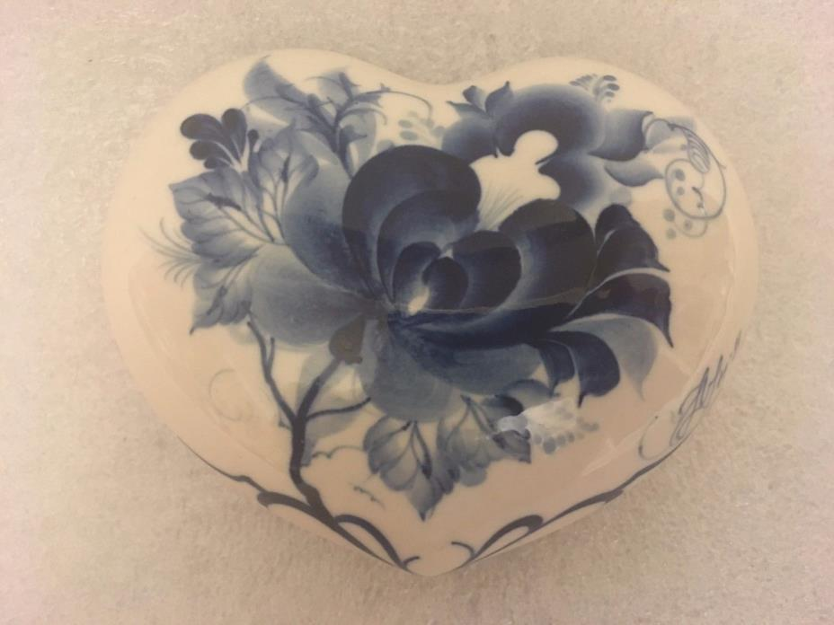 Blue & White Porcelain Heart Trinket Box
