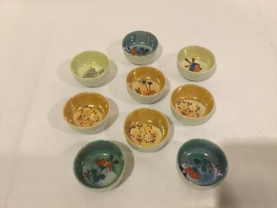 Tiny Japanese Porcelain Open Salt Dip Cellar Dish Total of 9 Hand-painted