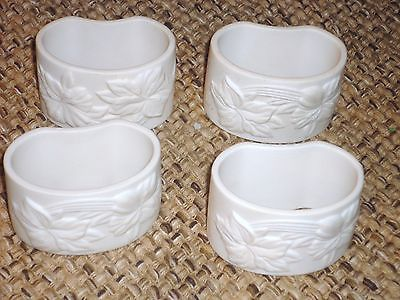 SET 4 GORHAM HANDCRAFTED FINE CHINA LINEN FLOWERS NAPKIN RINGS