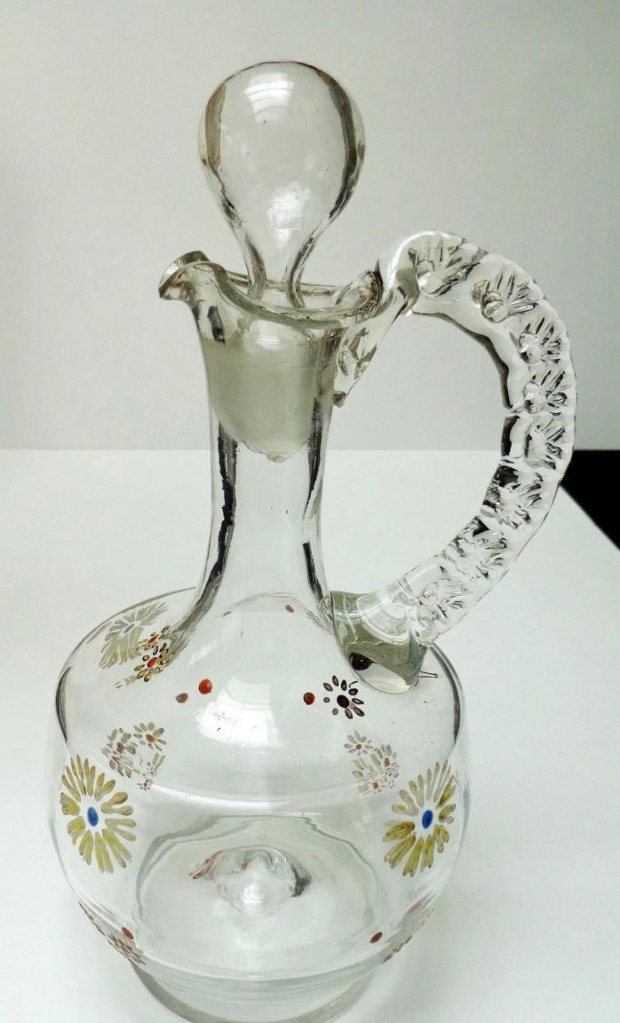 -*Vintage Hand-blown CORDIAL PITCHER W/STOPPER, APPLIED HANDLE & PETALS