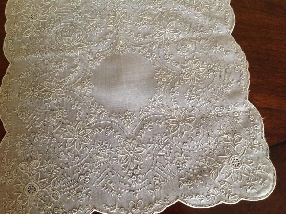 ANTIQUE LINEN EMBROIDERED WEDDING HANDKERCHIEF