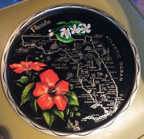 Florida Map Round Metal Black Hibiscus Souvenir Travel Tray 11