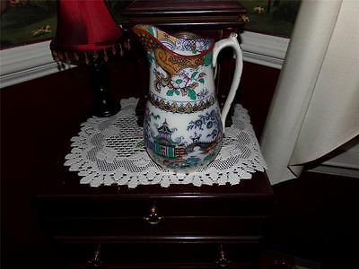VNTG. ORIENTAL LUSTER PITCHER HAND PAINTED LG.