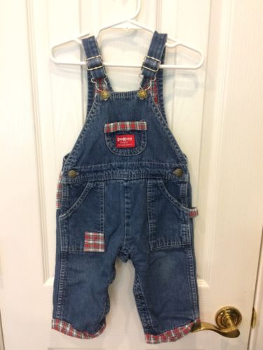 Oshkosh B'Gosh Overalls 24 Months Baby Boy Denim Blue Jean Flannel Lined Plaid