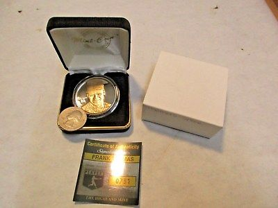 Highland Mint Frank Thomas 1 Ounce .999 Fine Silver Medallion 24KT Gold Overlay