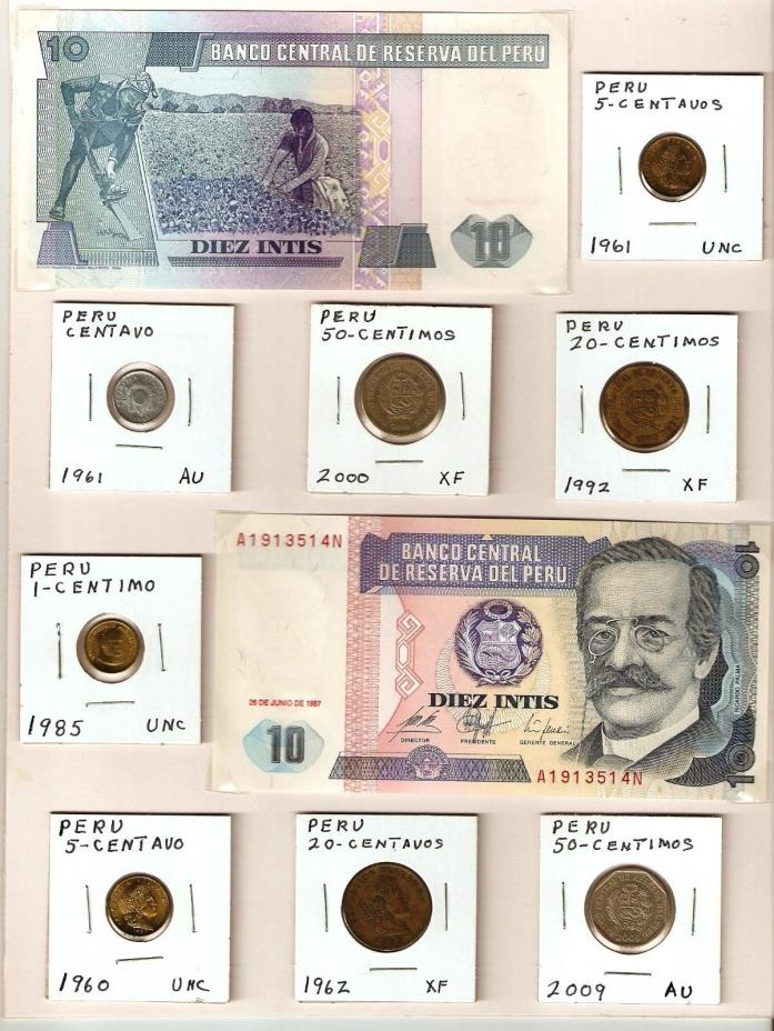 2 banknotes 8 coins from Peru, Paper money currency, displayed with no creases