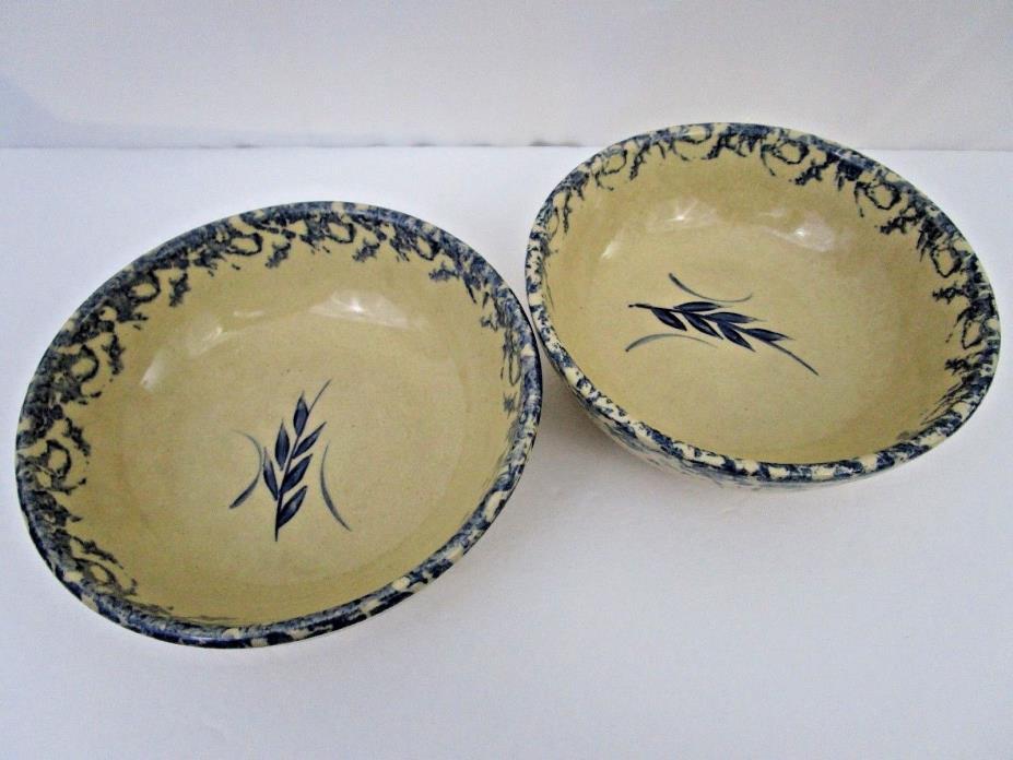Vintage Robinson Ransbottom Pottery Salad Bowls Blue Wheat 25 oz Set of Two