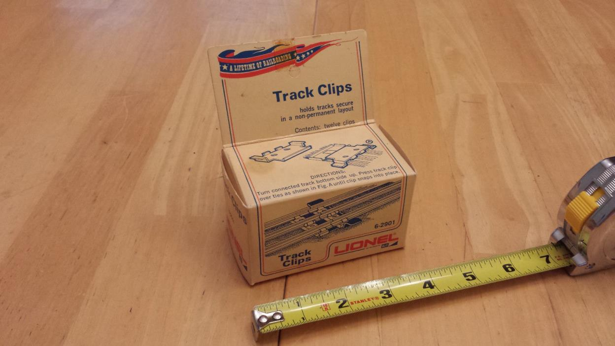 Vintage Lionel 6-2901 12 Unused Track Clips w/original Box - Clips Excellent!