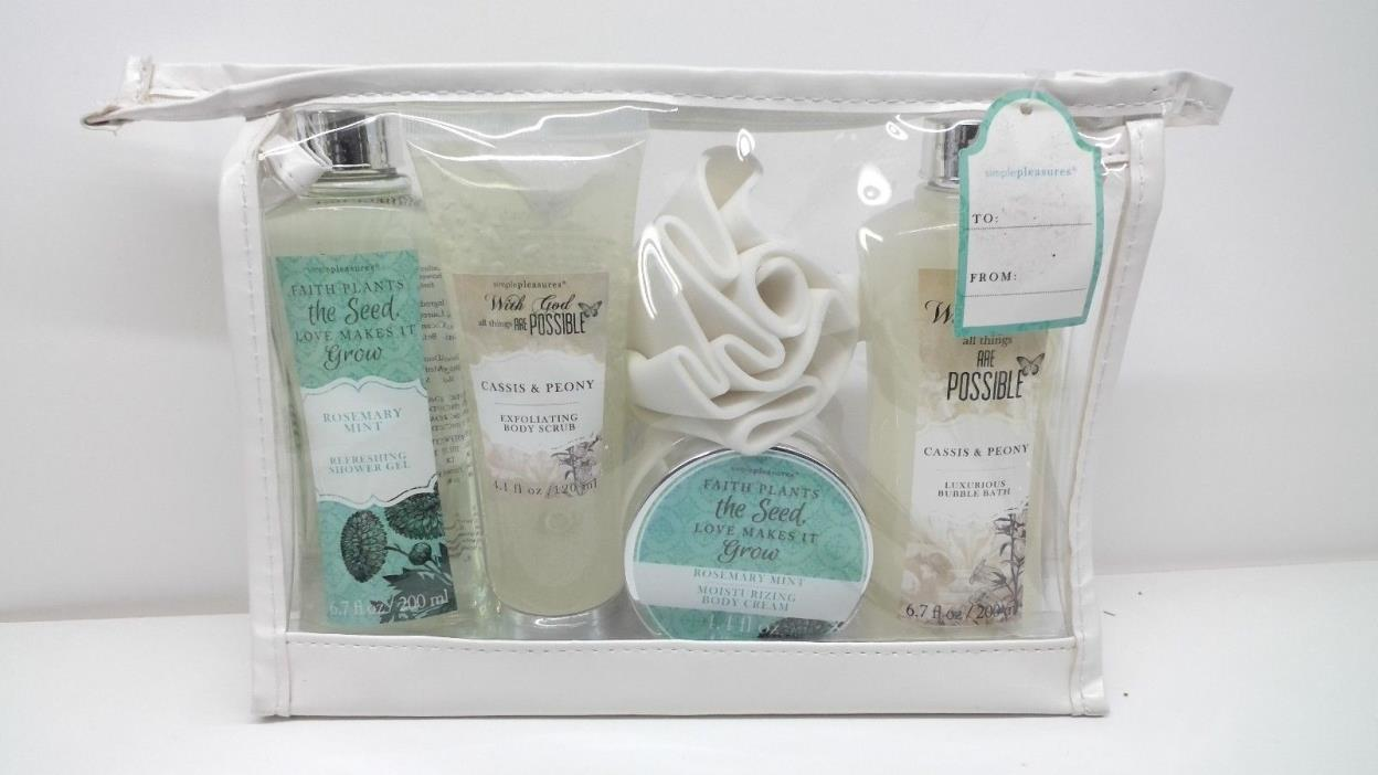 SIMPLE PLEASURES  Body CARE GIFT SET (ROSE & PEONY) with pouf - NEW