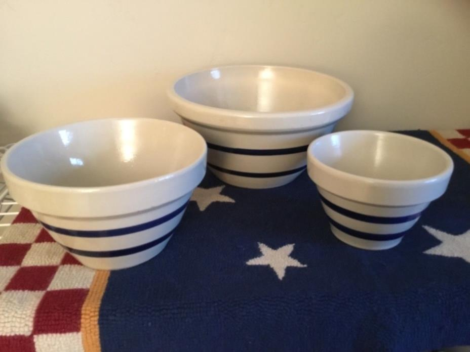 Roseville Pottery Nesting Mixing Bowls Set of 3 Blue Band stripe