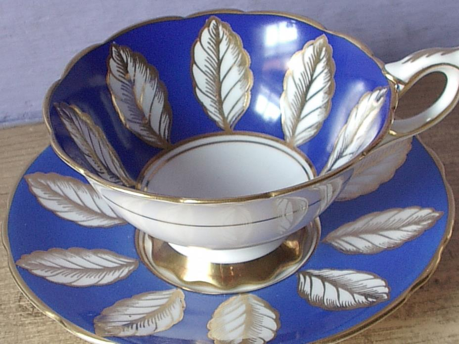 Vintage Royal Stafford blue white and gold leaves bone china tea cup teacup