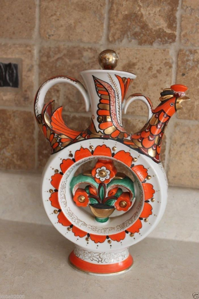 RARE RUSSIAN SOVIET LFZ KUMANETS JAR WITH WHISTLER ROOSTER RARE