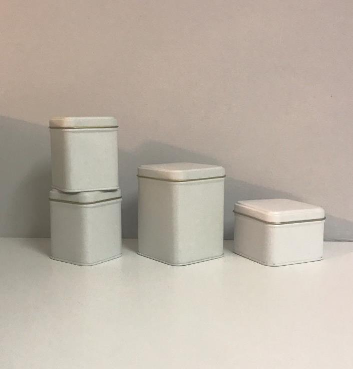 Provo Craft-4 White Paintable Tins-3 Sizes