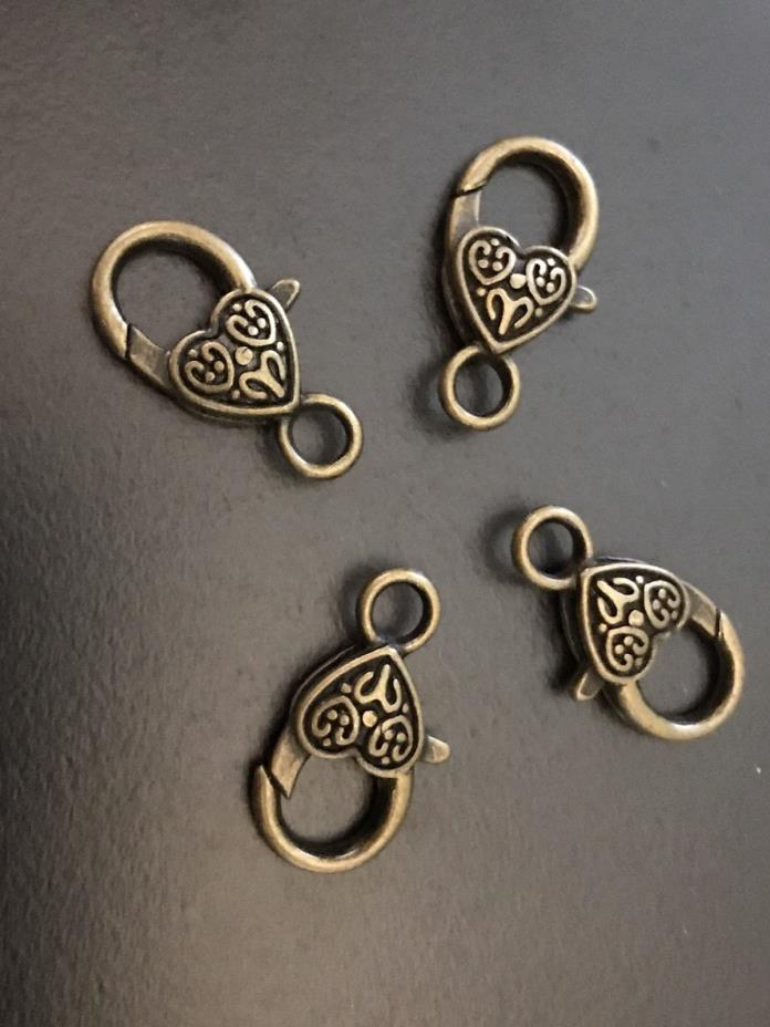 Antiqued Bronze Large 26mm Heart Design Lobster Claw Focal Clasp 4/pk