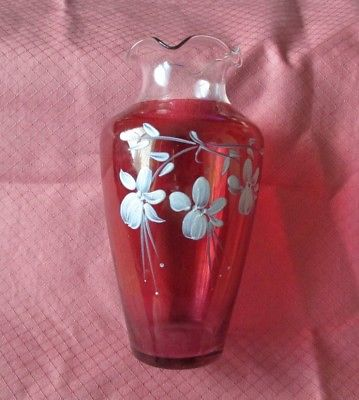 HANDPAINTED RED BUD VASE WITH WHITE FLOWER AND RUFFLED EDGES ON TOP