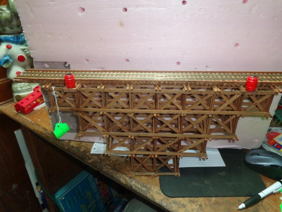 scratchbuilt wood trestle bridge code 100 rail   #713