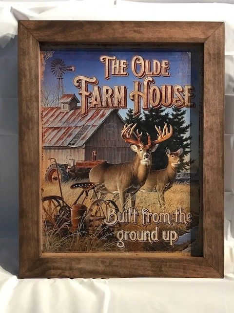 This Old Farm House Whitetail Deer Framed Tin Sign