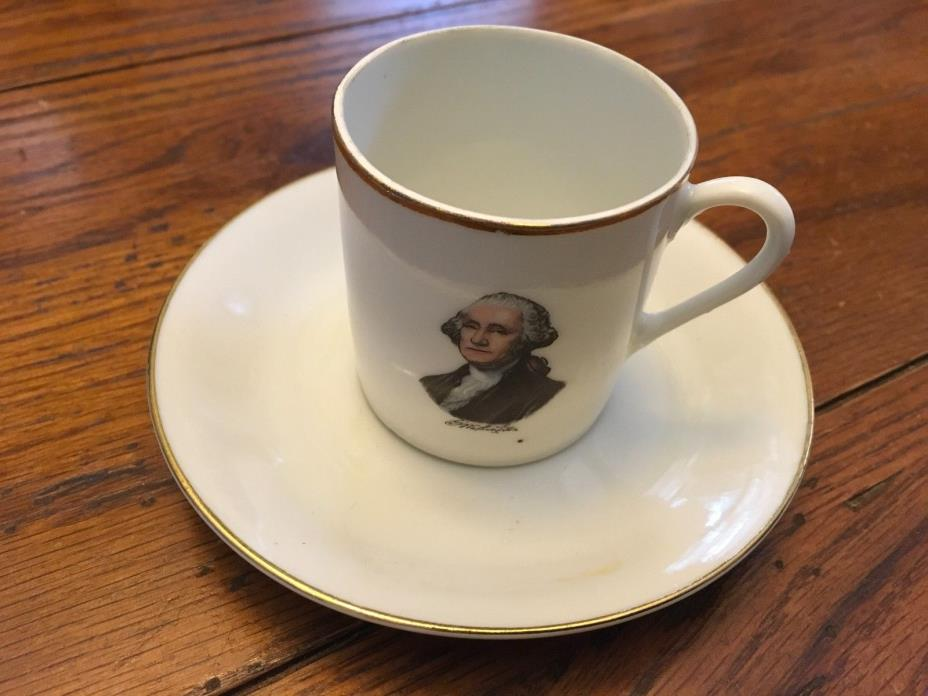 ANTIQUE GEORGE & MARTHA  WASHINGTON PORTRAIT DEMITASSE CUP AND SAUCER