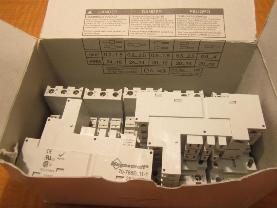 Lot Of 7 MAGNECRAFT Elevator Relay Socket -70-788EL11-1- Square Socket, DIN Rail