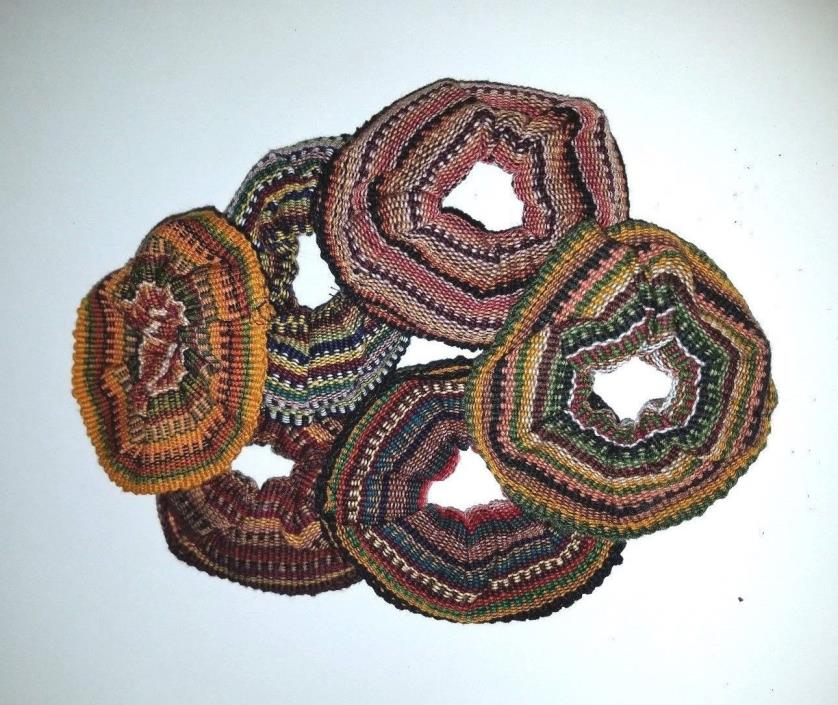 Lot of 6 Mayan Guatemalan Multi Color Hair Scrunchies strong elastic 100% cotton