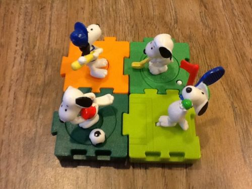 Snoopy Sports Figures - Foreign Set Of 4 Toys - Baseball, Golf, Soccer, Tennis