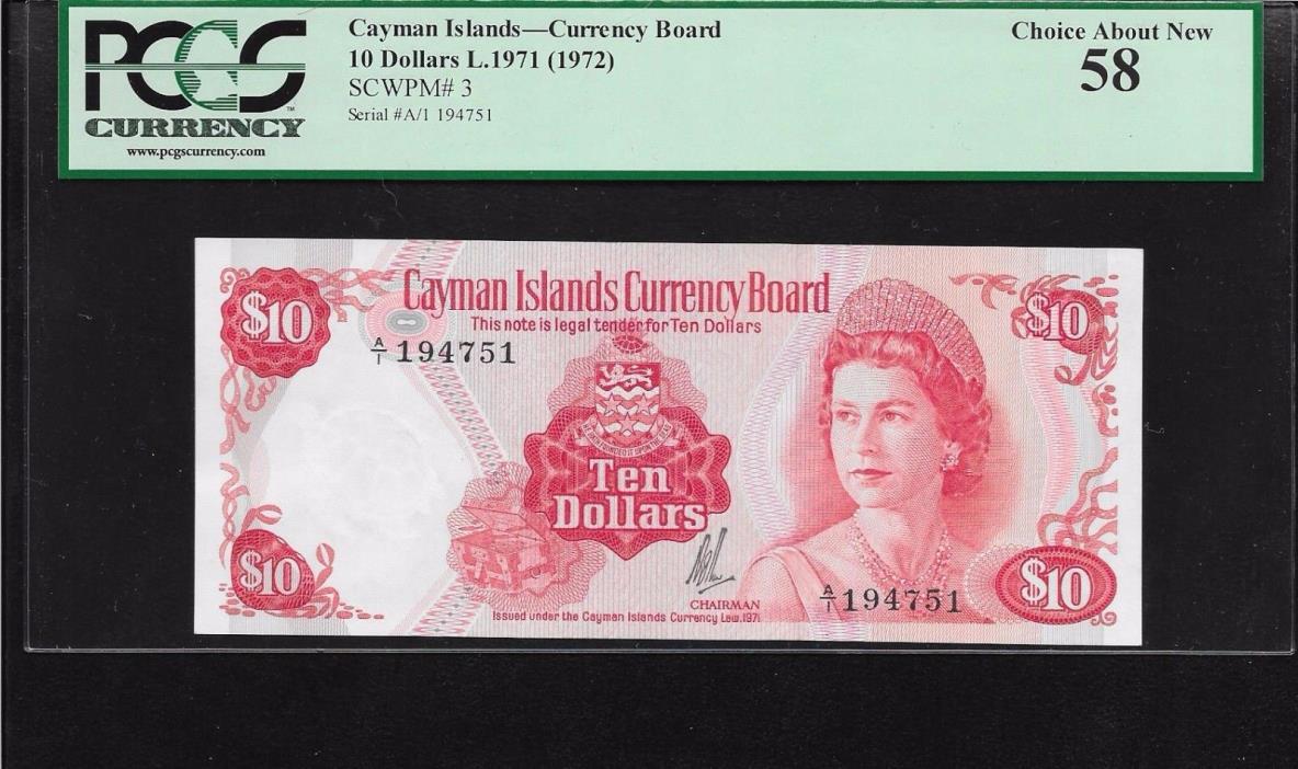 Cayman 10 dollars Queen  L 1971   1972  P-3  PCGS 58  a UNC
