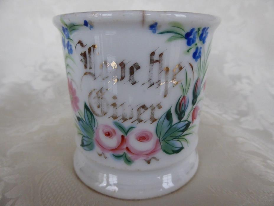 Victorian Antique Hand-Painted Porcelain LOVE THE GIVER CUP SHAVING MUG