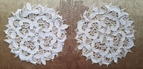 A41 Antique Doily Battenberg Tape Lace Small Set Pair Hand stitched Lot of 2