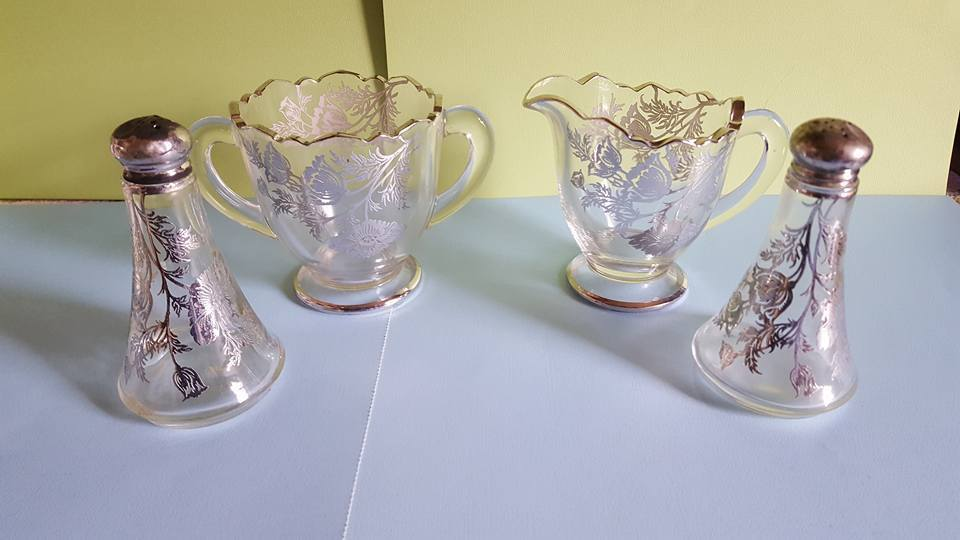 Vintage  Silver Onlay Glass Sugar Bowl & Creamer & Salt & Pepper Shakers