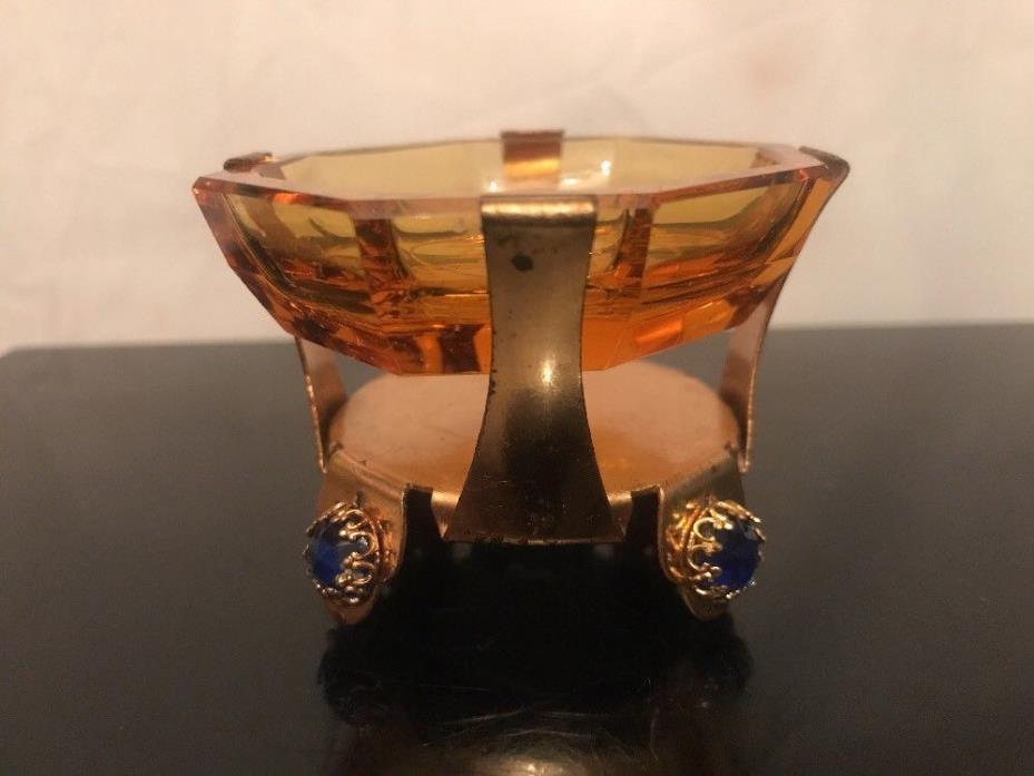 Antique Czech Amber Glass Intaglio w Jeweled Metal Holder Open Salt Cellar