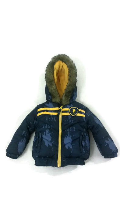 US Polo Association USPA Hooded Winter Puffer Bubble Coat - Blue - Baby Boys 24m