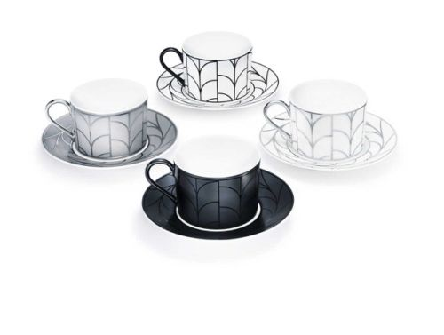 NEW-Tiffany & Co. Wheat Leaf Cup & Saucer Set; White china w/platinum leaf-$425