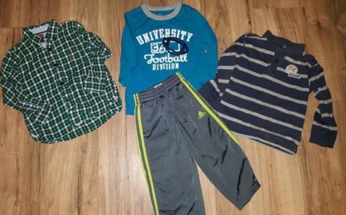 Toddler Boys 3t Clothing Lot of 4 Shirts, Pants, Tommy Hilfiger, Adidas