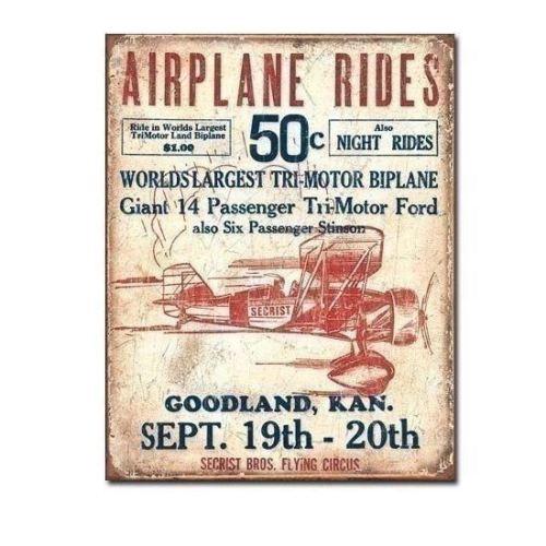 New - Secrist Bros. Airplane Rides Distressed Vintage Tin Metal Sign Ad 12