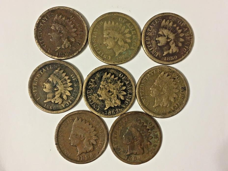Indian Head cent 8 coin w/ key dates collection Free Shipping!   DL#733
