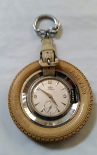 Marvin Swiss 17J Watch 1950s set in a Rubber Tire Key Fob. VGC, Watch Runs Good!
