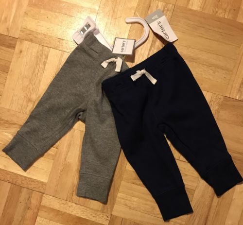 Carter's baby boy basic navy blue dark heather gray cotton rib pants 2pc set  3M
