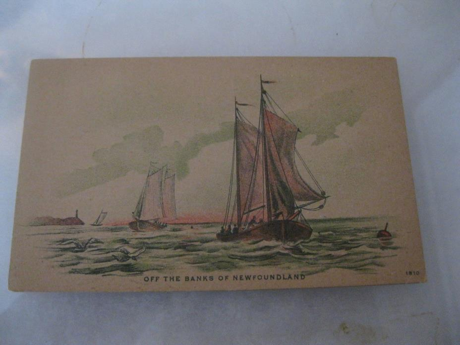 Off the banks of Newfoundland cool sail boats  Postcard early 1909
