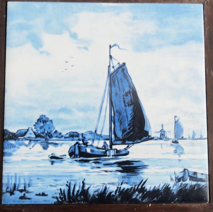 H&R Johnson Tile Sailboats on the Water Trivet Vintage  8.75