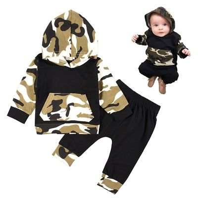 Baby Girls Boys Camouflage Hooded T Shirt Tops + Pant Leggings Outfit Clothes